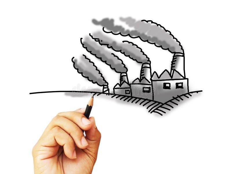 Skissa för fabriksförorening arkivbilder