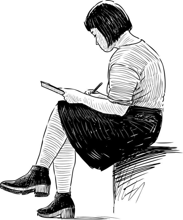 Skissa för flicka royaltyfri illustrationer