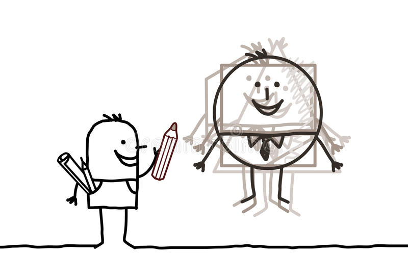 skissa för konstnär stock illustrationer