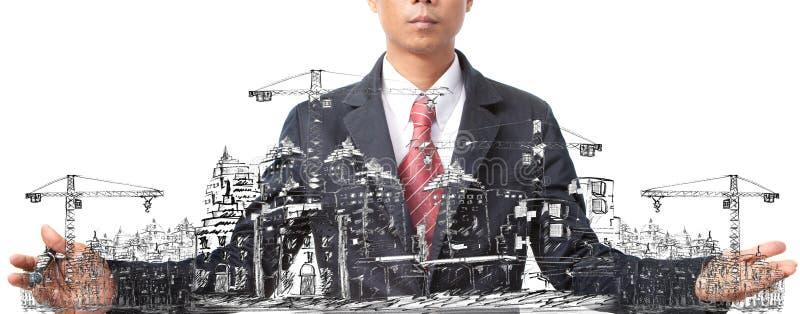 Skissa för man av byggnadskonstruktion på vit arkivbild