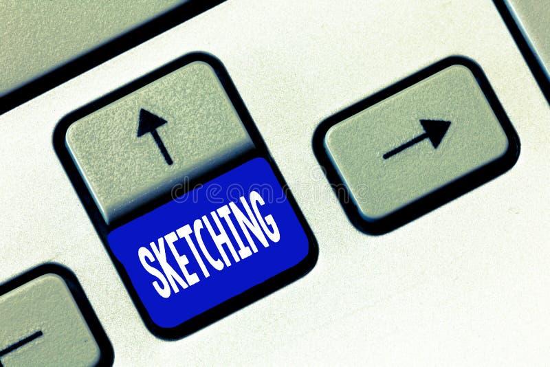 Skissa för ordhandstiltext Affärsidé för framställning en grov teckning av något av idé för designplanutkast arkivbild