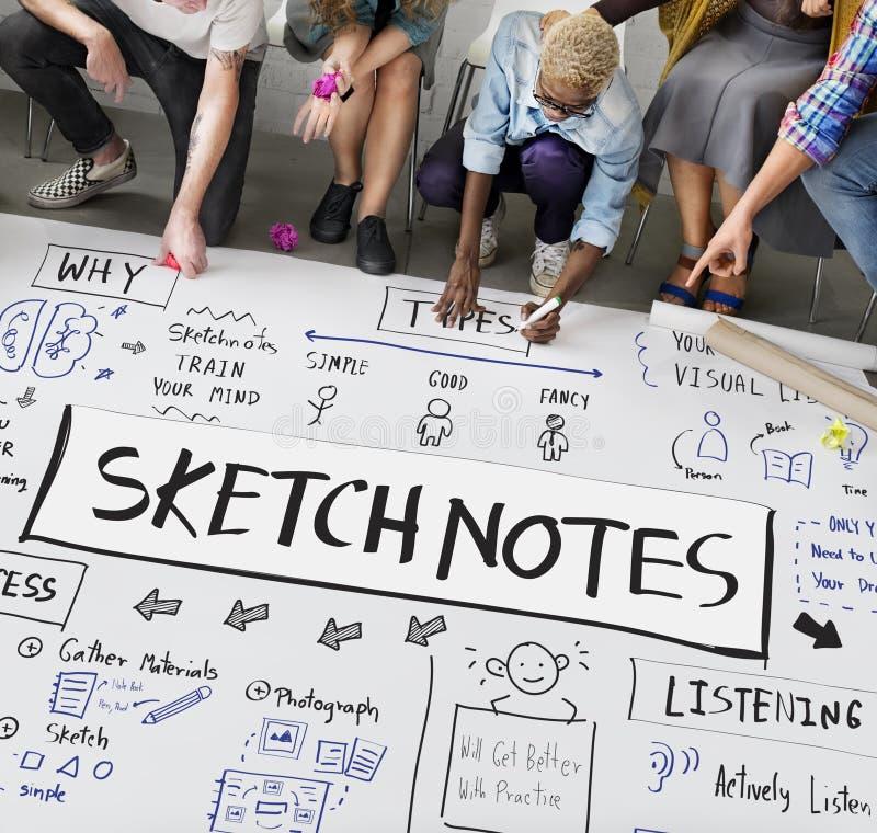 Skissa för teckningsdesignen för anmärkningar det idérika begreppet för diagrammet arkivfoto