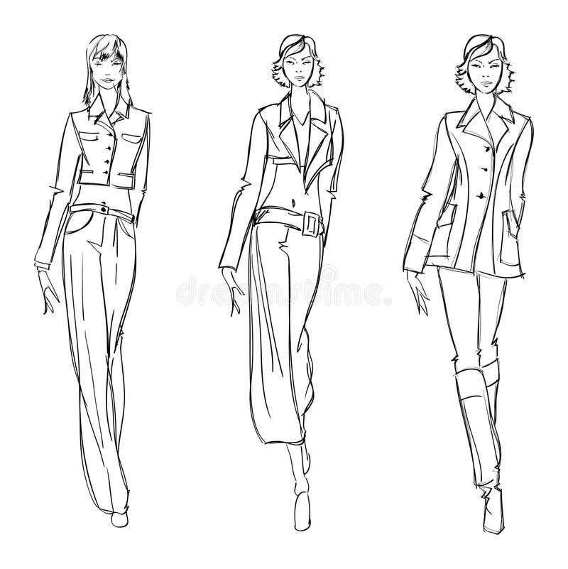SKISSA. fashion flickan. vektor illustrationer