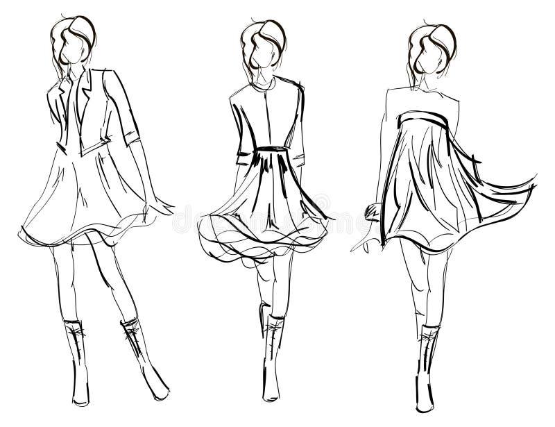 SKISSA. fashion flickan. stock illustrationer