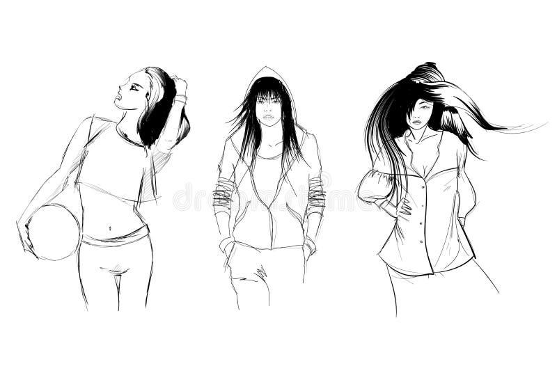skissa fashion flickor stock illustrationer
