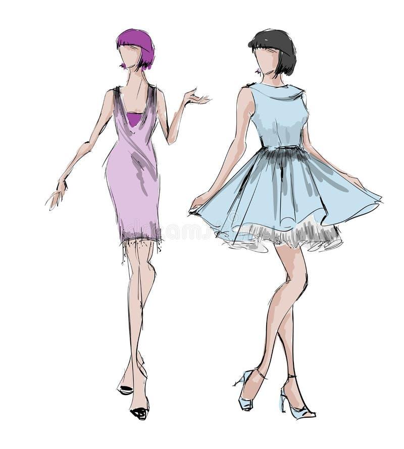 skissa fashion flickor royaltyfri illustrationer