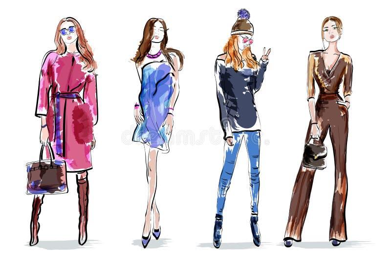 Skissa flickauppsättningen Stilfulla handteckningskvinnor Färgrika kvinnliga tecken stock illustrationer
