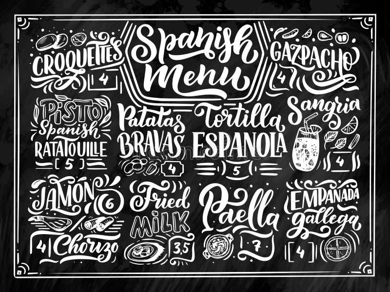 Skissa Freehand stilteckningen av den spanska menyn med olika matnamn, olika beståndsdelar och räcka skriftlig bokstäver royaltyfri illustrationer