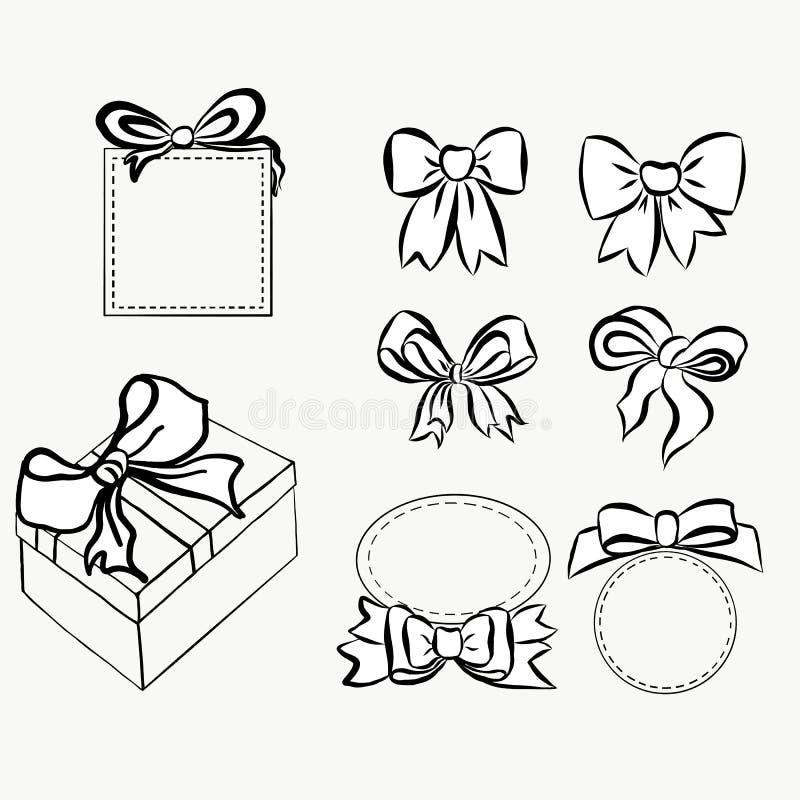 Skissa gåvapilbågar Hand drog grafiska beståndsdelar för din design uppsättningpilbågar och band som dekorerar dina text och vyko stock illustrationer