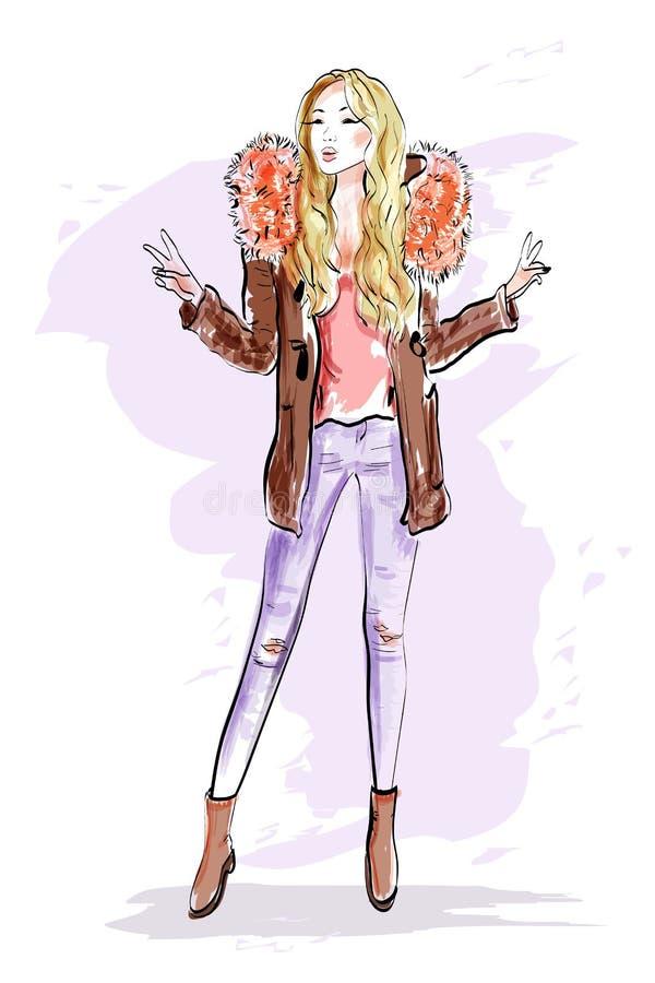 skissa härlig svart kvinna för modehattstående Gullig flicka för blont hår i modekläder nakenstudien skissar vektor illustrationer