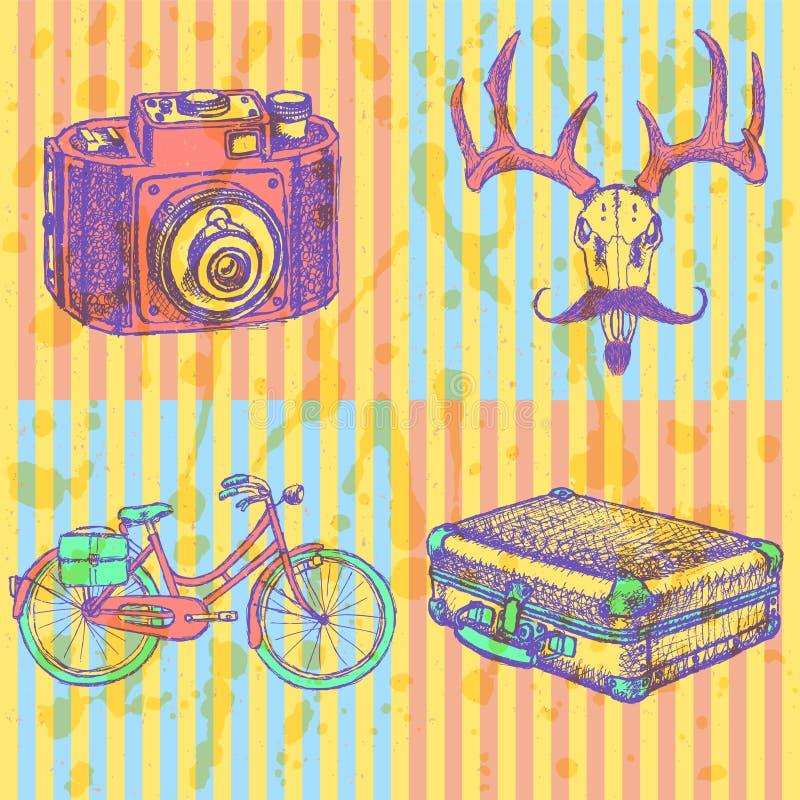 Skissa hjortar med den mustasch-, suitecase-, cykel- och fotokameran, vektor illustrationer