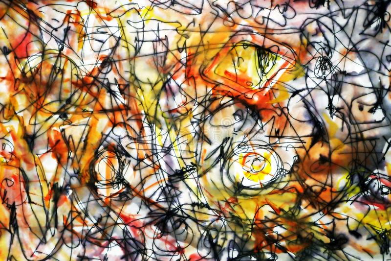 Skissa i stilen av abstrakt expressionism Abstrakt bakgrund i bruna gula och röda signaler royaltyfri illustrationer