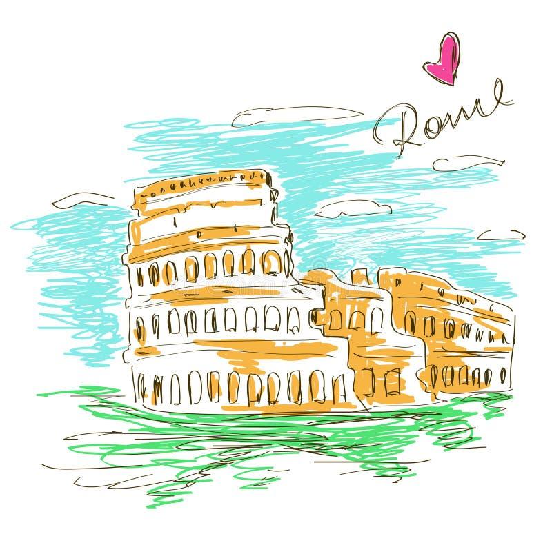 Skissa illustrationen av Colosseum vektor illustrationer