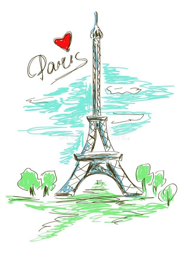 Skissa illustrationen av Eiffeltorn royaltyfri illustrationer