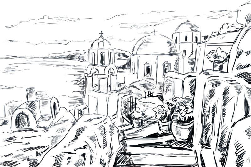 Skissa illustrationen den grekiska staden royaltyfria foton