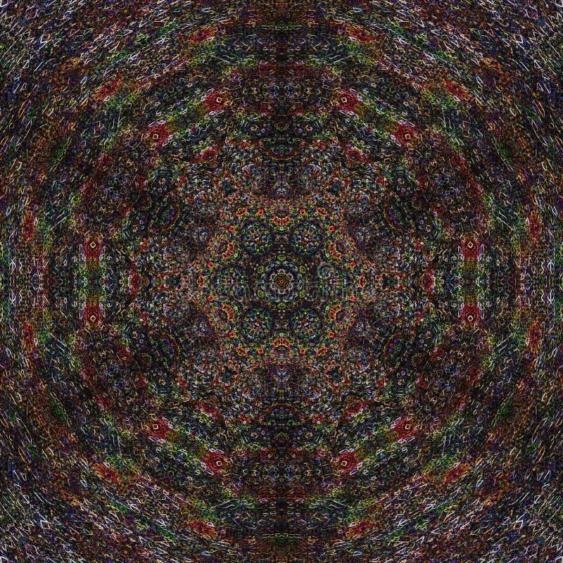 Skissa illustrationen på den mörka bakgrunden Gammal svart mandalabakgrund Vetenskapsbegreppsdesign royaltyfri illustrationer