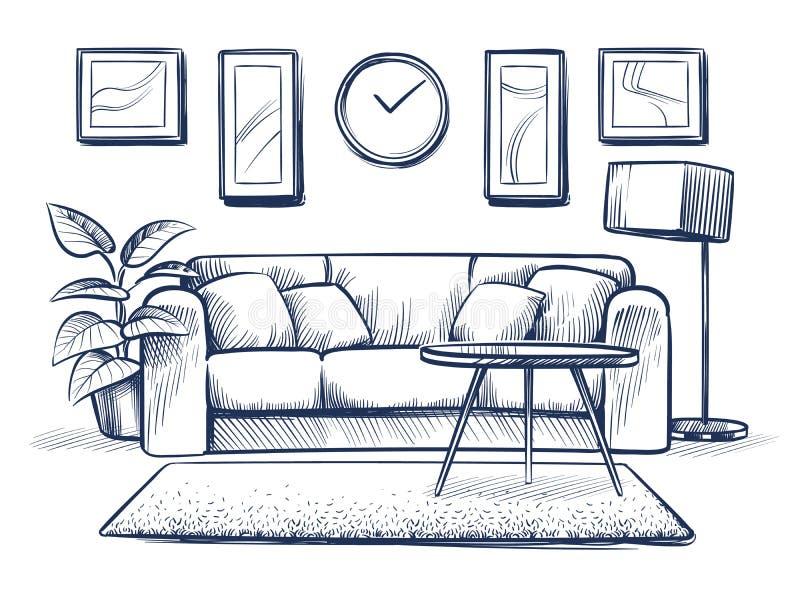 Skissa inre Klottra vardagsrum med soffan, kuddar och bildramar på väggen Frihandsteckningshemvektor stock illustrationer