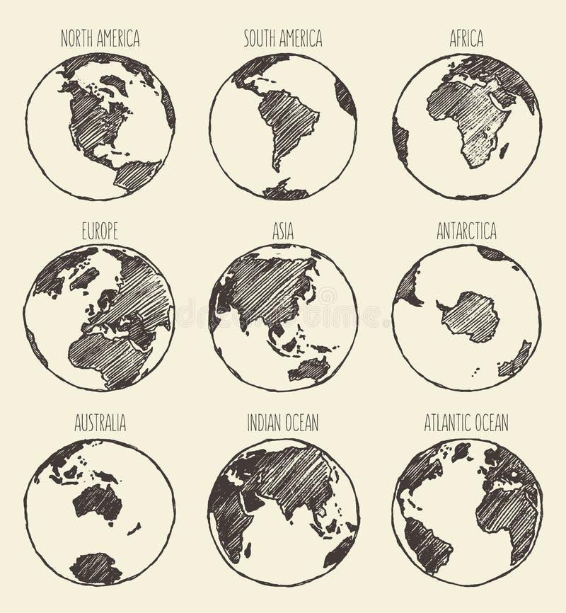 Skissa jordklotet Amerika Afrika Europa Asien Australien vektor illustrationer