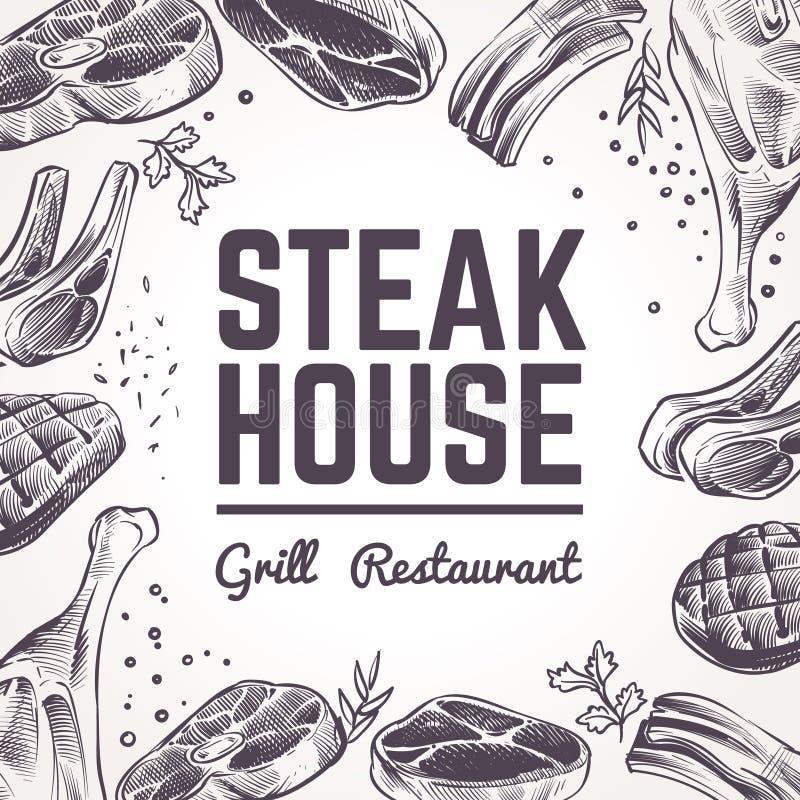 Skissa köttbakgrund Gallermatmeny Nötkött, griskött och lammgrillfest och korvar Vektor för hand för tappningbbq-kött utdragen vektor illustrationer