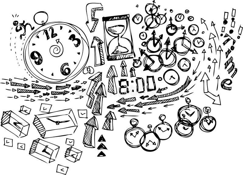 Skissa klotter: Tid vektor illustrationer