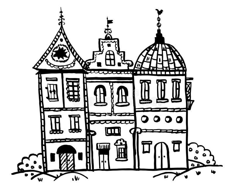 Skissa klottervektorillustrationen, dra bildsagahus med ovanliga tak som fodras med tegelsten royaltyfri illustrationer