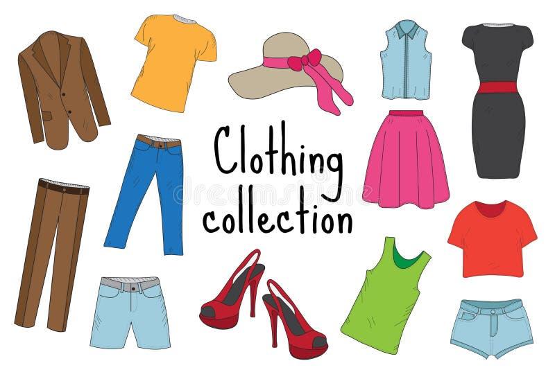 Skissa, klottra stil, bekläda den drog uppsättninghanden Dräktsamling med flåsanden, kortslutningar, T-tröja, klänning, skor, hat stock illustrationer