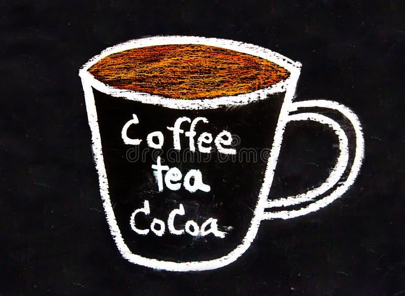 Skissa krita kuper av kaffe och tea och kakaon arkivbild