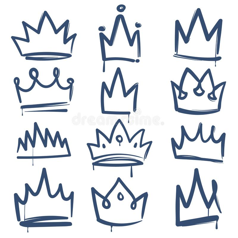 Skissa kronan E vektor illustrationer