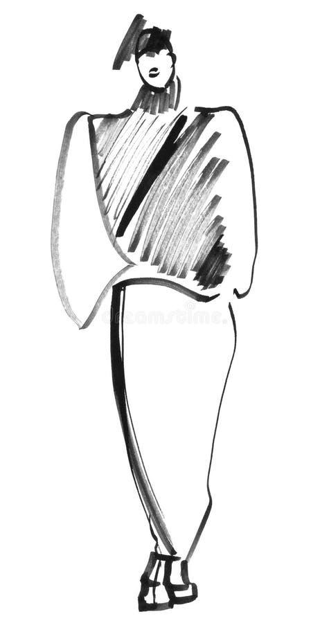 Skissa kvickt i svart Eightiesstil royaltyfri illustrationer