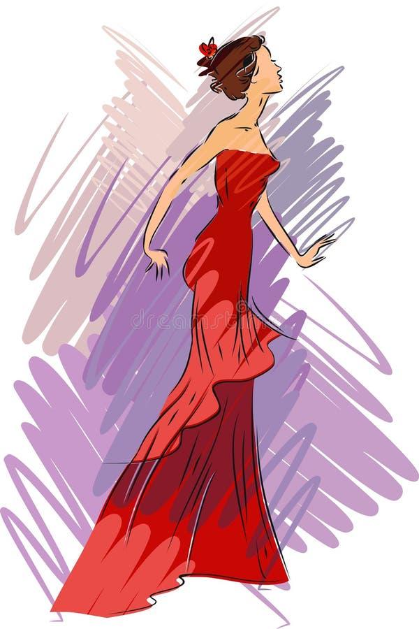 skissa kvinnan vektor illustrationer