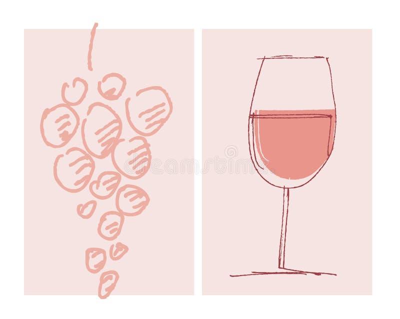 Skissa mallen för den stilhus-vin etiketten royaltyfri illustrationer