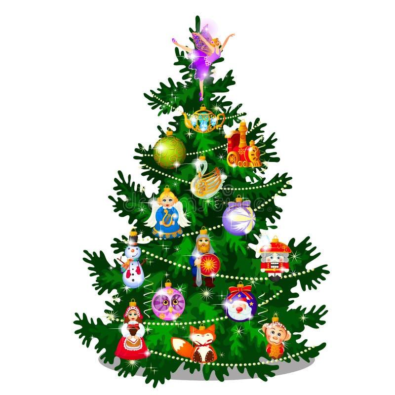 Skissa med den gulliga julgranen Gåvor för nytt år, klassiskt julpynt och struntsaker Prövkopia av affischen, inbjudan stock illustrationer