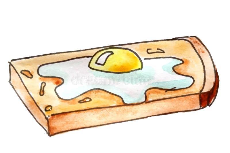 skissa Morgonfrukost - stekt ägg på rostat bröd royaltyfri illustrationer