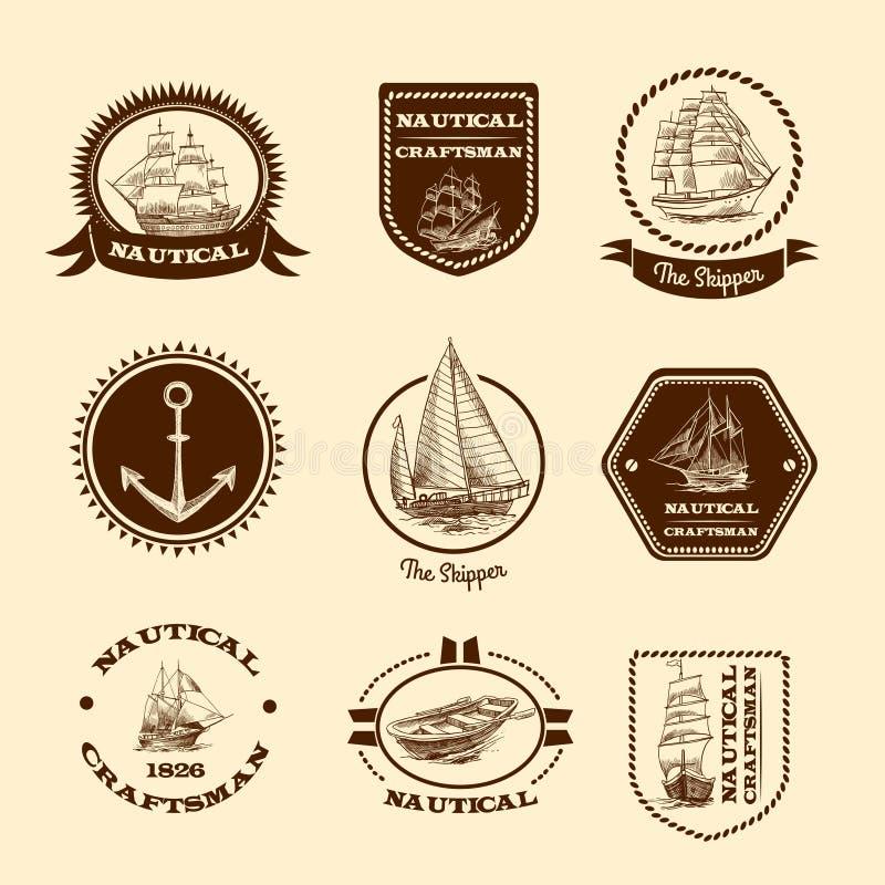 Skissa nautiska emblem royaltyfri illustrationer
