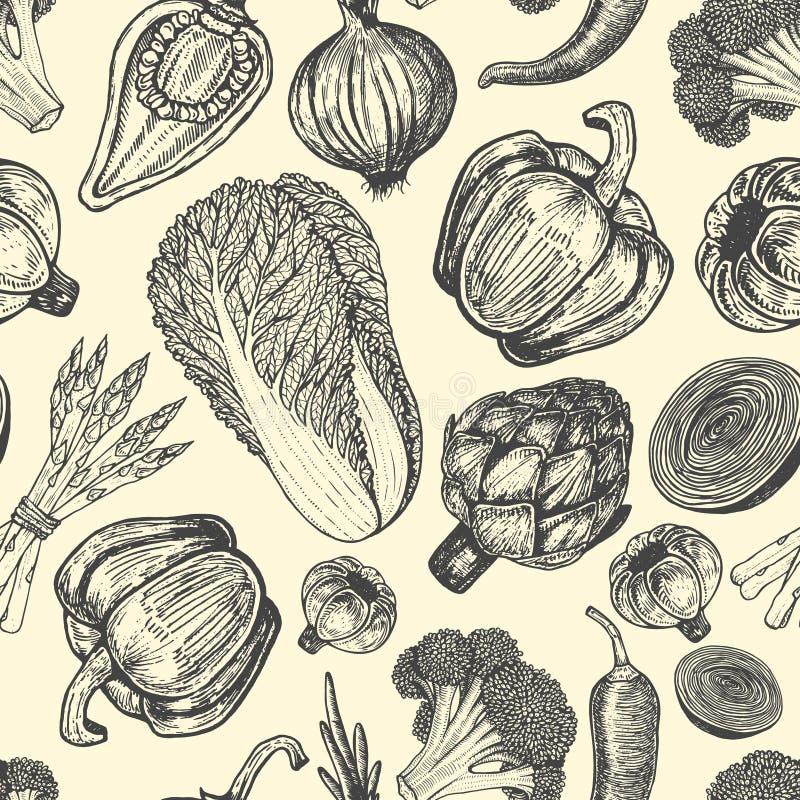 Skissa nya grönsaker för stil Sömlös modell med uppsättningen av hand drog beståndsdelar vektor illustrationer