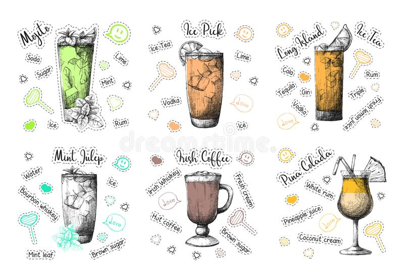 Skissa olika coctailrecept Mojito, Pina Colada, irländskt kaffe och andra vektor royaltyfria bilder