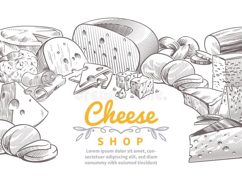 Skissa ostbakgrund Smakliga mellanmål för skivor för ostar brie, feta- och parmesangourmet- Klottret skissar tappningvektorn royaltyfri illustrationer