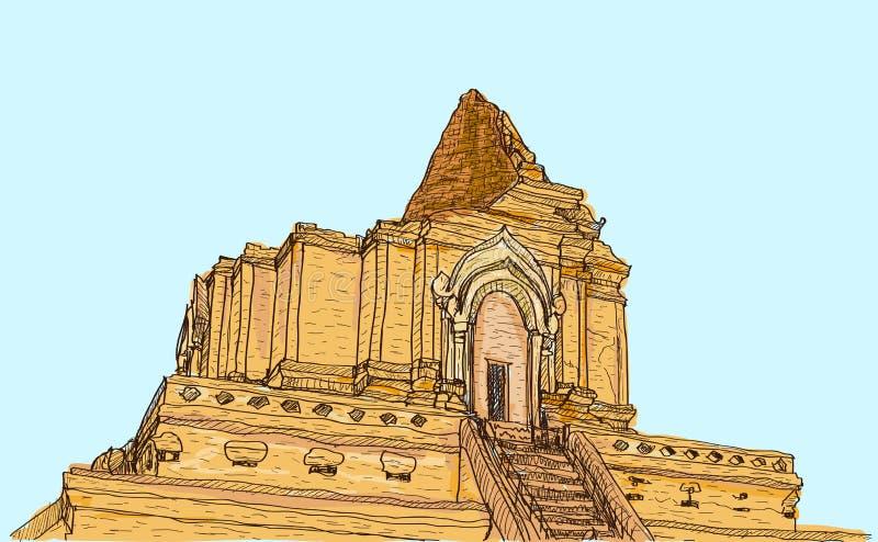 Skissa pagoden Wat-Ja-Dee-Luang i Thailand, Chiangmai för den gamla templet stock illustrationer