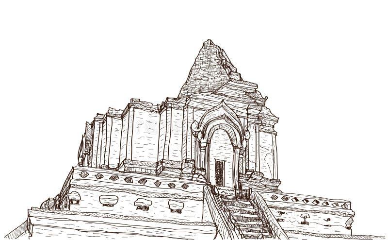 Skissa pagoden Wat-Ja-Dee-Luang i Thailand, Chiangmai för den gamla templet royaltyfri illustrationer