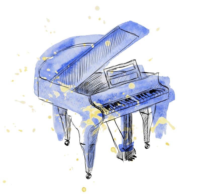 Skissa pianot vektor illustrationer