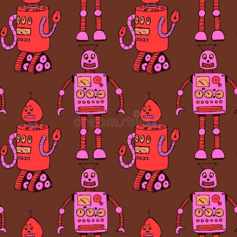 Skissa roboten i tappningstil stock illustrationer