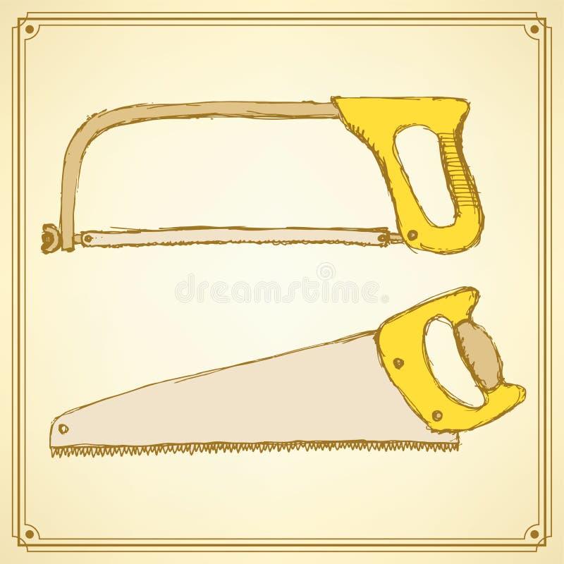 Skissa sågar för trä och metall stock illustrationer