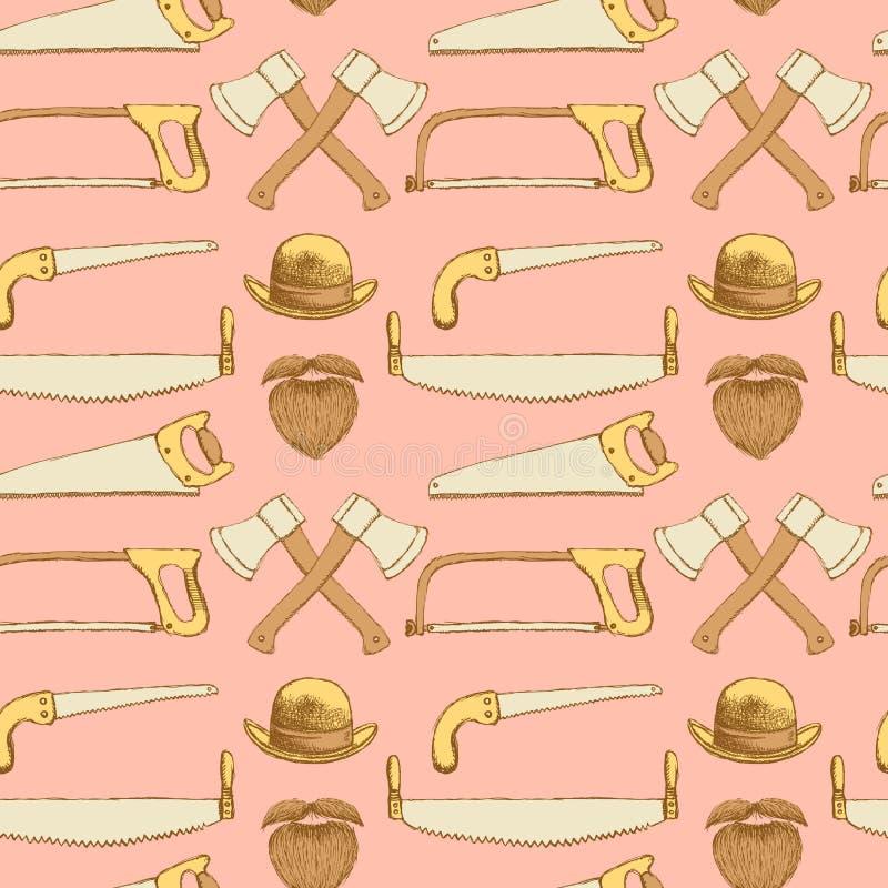 Skissa sågar, yxan, hatten och skägget i tappningstil vektor illustrationer