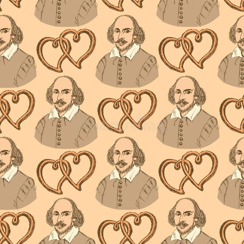 Skissa Shakespeare och hjärtor i tappningstil royaltyfri illustrationer