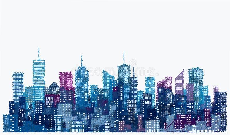 Skissa staden royaltyfri illustrationer