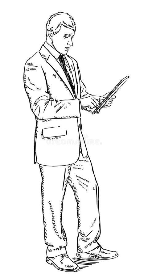 Skissa stilillustrationen av anseendet och att använda för affärsman datorminnestavlan stock illustrationer