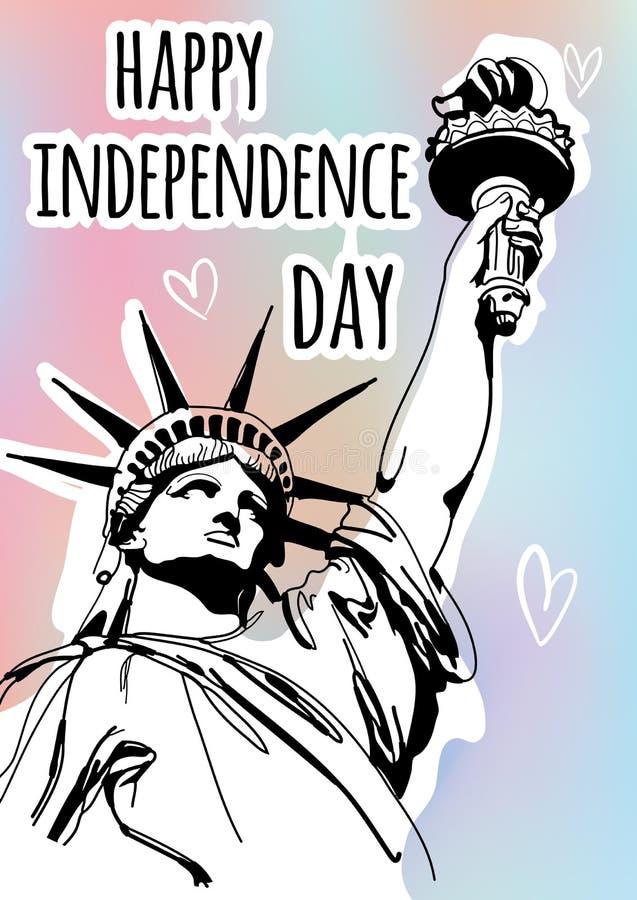 Skissa stilvektorillustrationen med statyn av frihet för 4th Juli Lycklig självständighetsdagenberöm vektor illustrationer