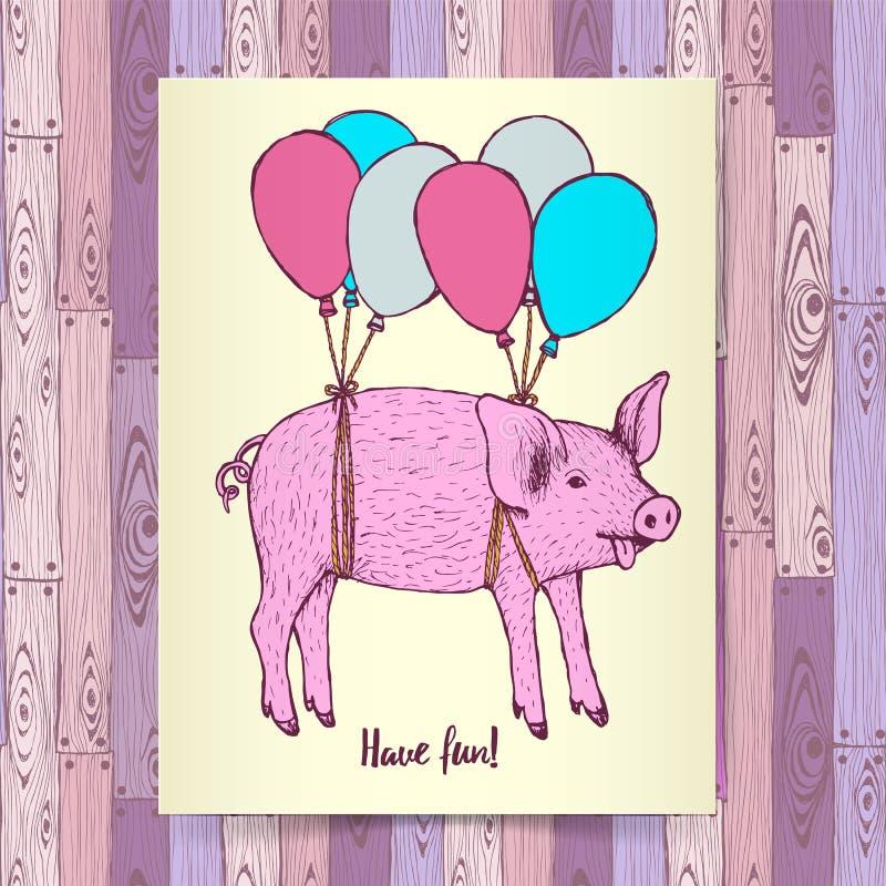 Skissa svinflyget med baloons royaltyfri illustrationer