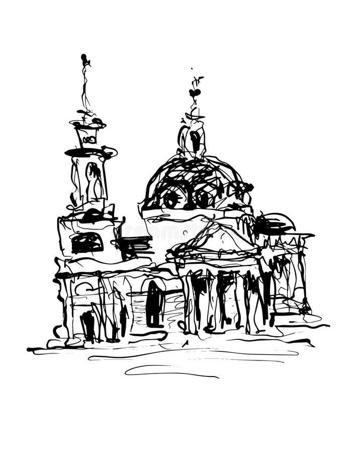 Skissa teckningen av historisk byggnad från Kyiv, Ukraina stock illustrationer