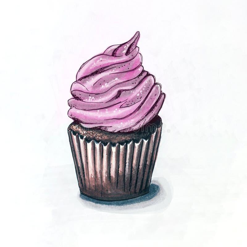 Skissa teckningen av muffin med rosa kräm vid markörillustratio arkivfoto
